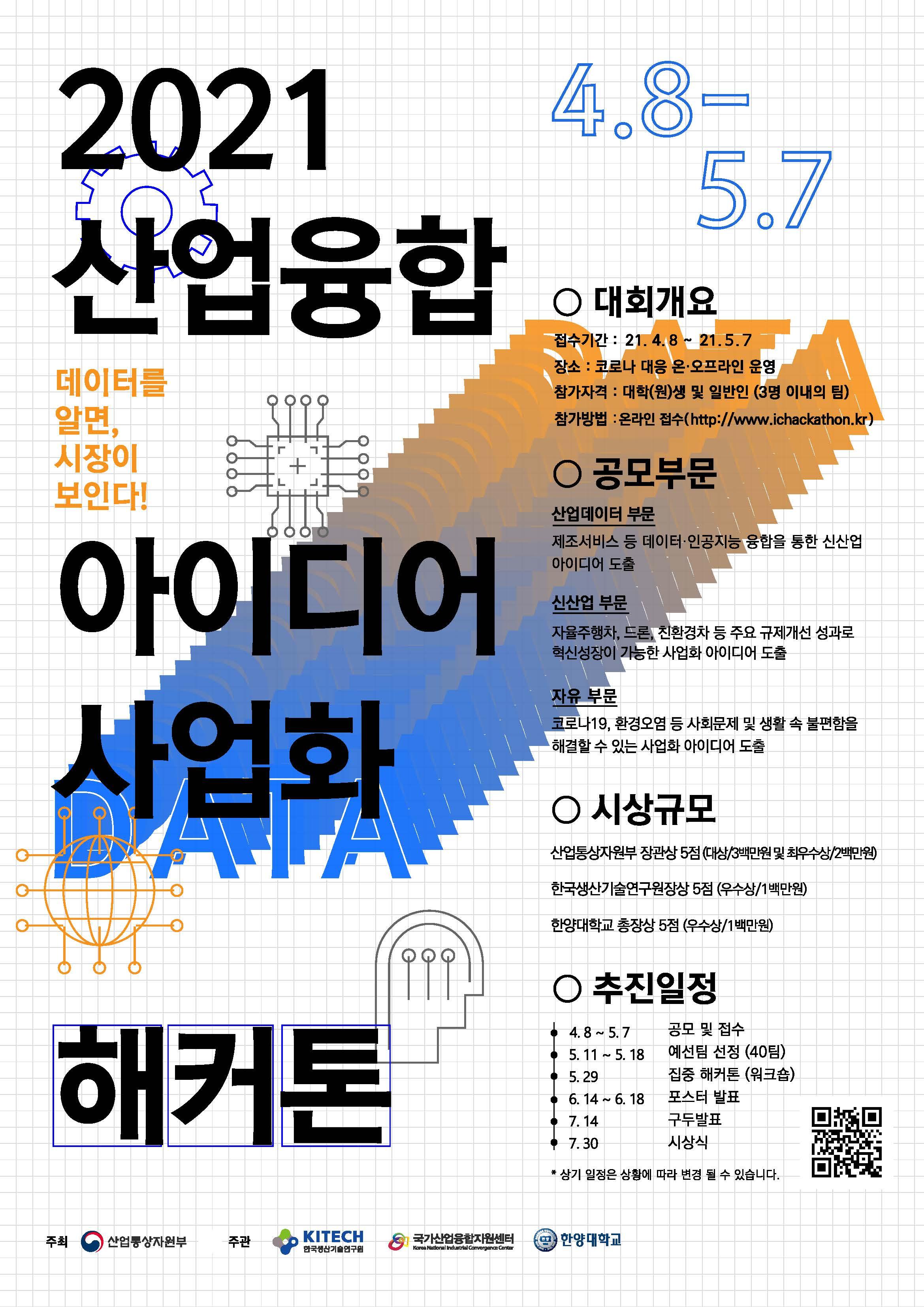 2021 산업융합 아이디어 사업화 해커톤 홍보 포스터(QR추가).jpg