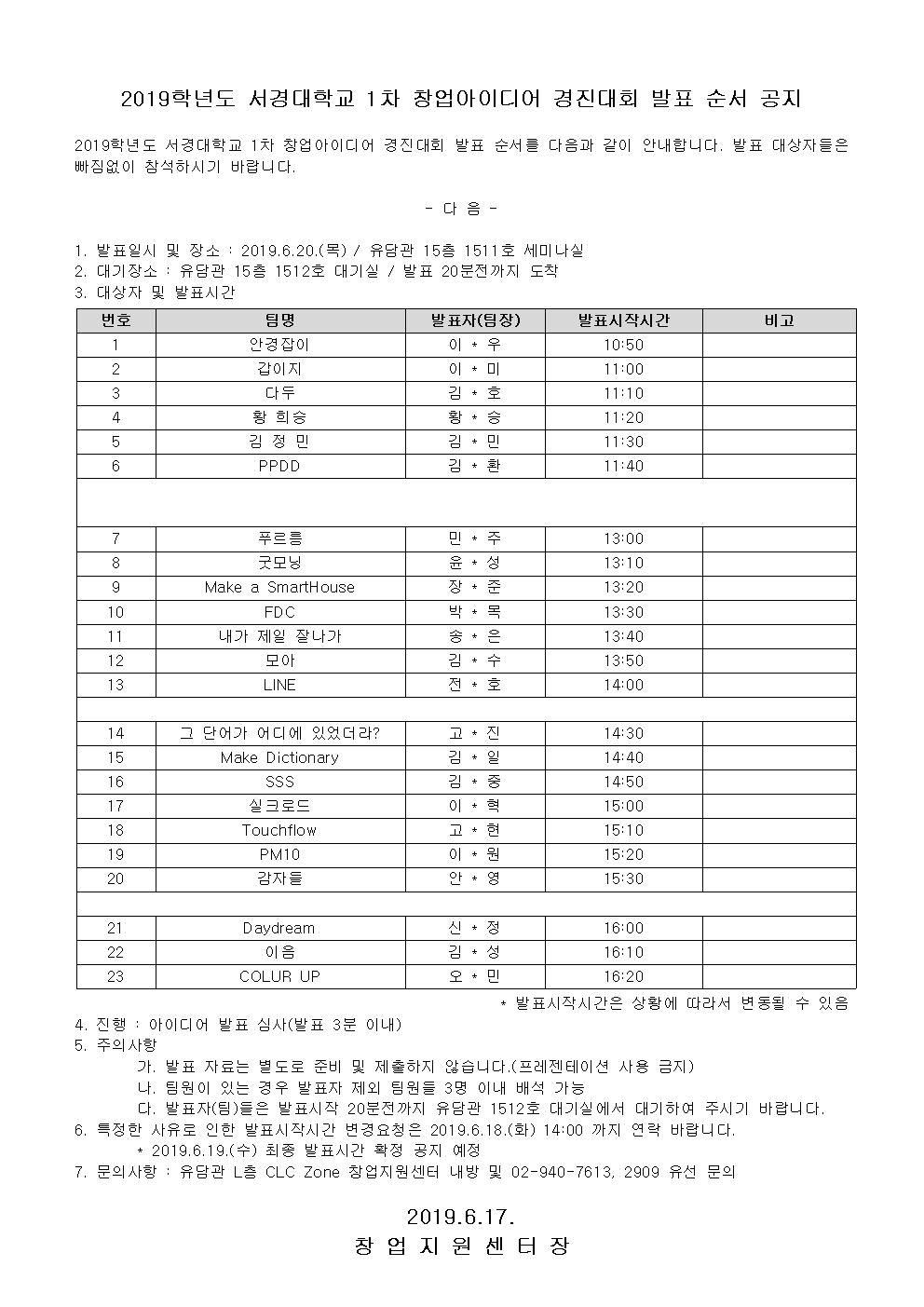 2019학년도 서경대학교 1차 창업아이디어 경진대회 발표 순서 공지001.png