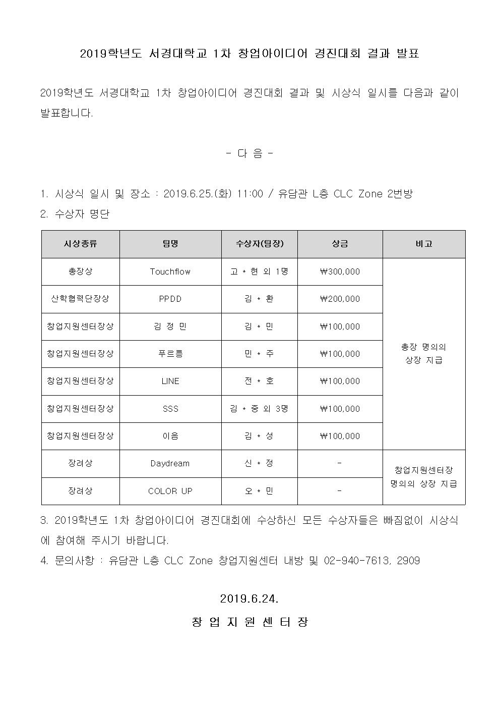 2019학년도 서경대학교 1차 창업아이디어 경진대회 결과 발표.png